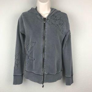 Vertigo Paris Grey Embroidered Cotton Hoodie